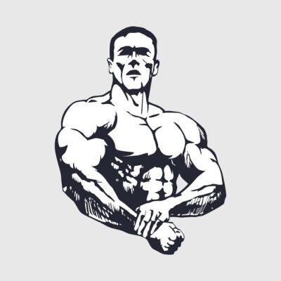 Sticker Hand drawn muscular man - Bodybuilder