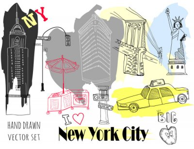 Sticker Hand drawn New York elements. Colored graphic vector set