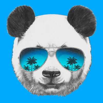 Sticker Hand drawn portrait of Panda with mirror sunglasses. Vector isolated elements