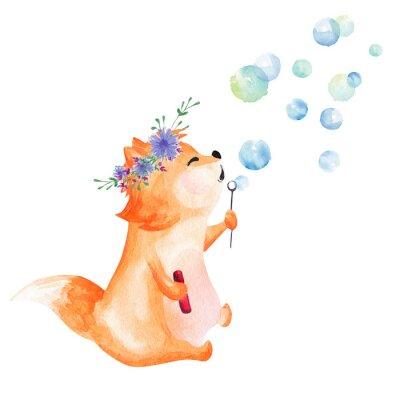 Sticker Hand drawn watercolor fox blowing bubbles