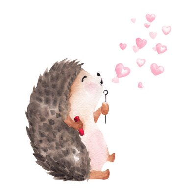 Sticker Hand drawn watercolor hedgehog blowing heart shaped bubbles