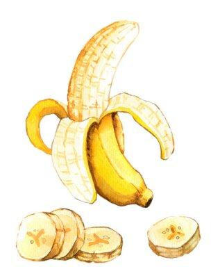 Sticker Hand drawn watercolor illustration of banana