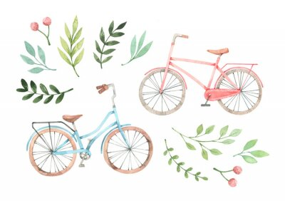 Sticker Hand drawn watercolor illustration - Romantic bike with floral elements. City bicycle. Amsterdam. Perfect for invitations, greeting cards, posters, prints