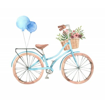 Sticker Hand drawn watercolor illustration - Romantic bike with flower basket in pastel colours. City bicycle. Amsterdam. Perfect for invitations, greeting cards, posters, prints