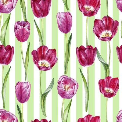 Sticker hand drawn watercolor seamless pattern with tulips