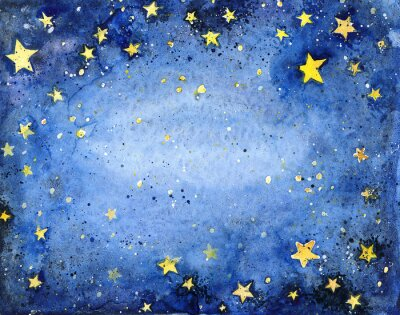 Sticker Hand painted watercolor blue sky with bright stars