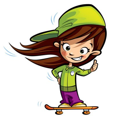 Sticker Happy cute girl on a skateboard making a thumbs up gesture