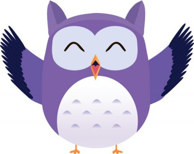 Sticker Happy cute vector purple owl