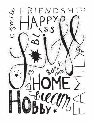Sticker Happy Life Lettering