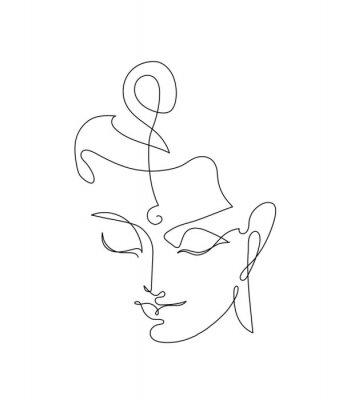 Sticker Head Smiling Buddha. Linart drawings.