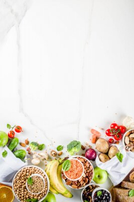 Sticker Healthy food. Selection of good carbohydrate sources, high fiber rich food. Low glycemic index diet. Fresh vegetables, fruits, cereals, legumes, nuts, greens.  copy space
