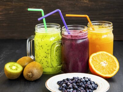 Sticker Healthy juices drinks with kiwi,blueberries and orange