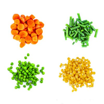 Sticker Heaps of different cut vegetables isolated on white background. Top view.