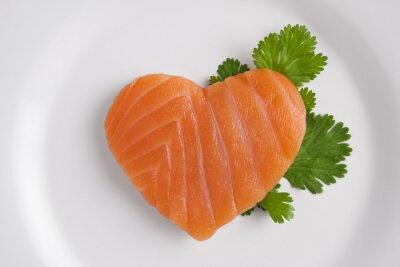 Sticker Heart shaped salmon on white plate