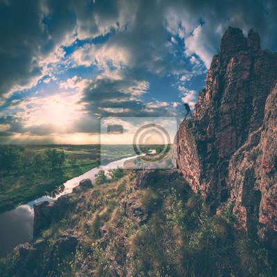 High cliff valley. Instagram stylisation