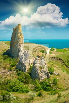 High cliffs and sea