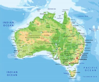 Sticker High detailed Australia physical map with labeling.