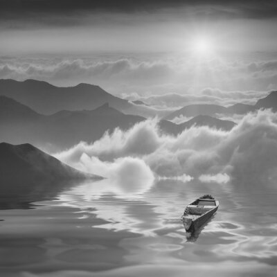 High mountains sunrise. Black and white