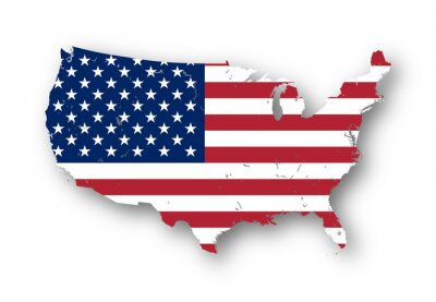 Sticker High resolution map of the USA with american flag. You can easily remove the shadows, or to fill in the map in a different color - clipping path included.