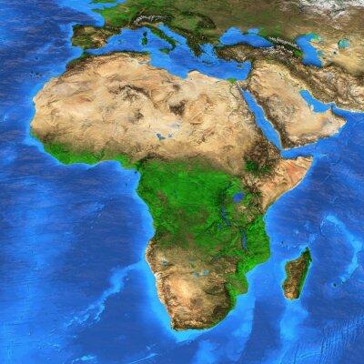 Sticker High resolution world map focused on Africa