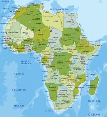 Sticker Highly detailed editable political map. Africa.