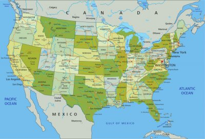 Sticker Highly detailed editable political map with separated layers. United States of America.