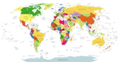 Sticker Highly Detailed Political World Map Isolated On White