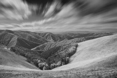 Hills of Borzhava ridge. Monochrome