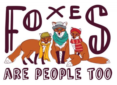 Sticker Hipster fox fun sign poster animal card.