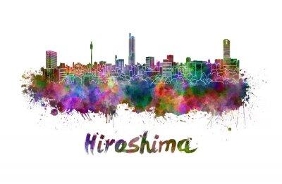 Sticker Hiroshima skyline in watercolor