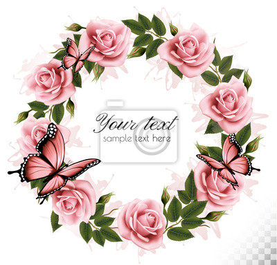 Sticker Holiday background with beauty flowers and butterflies. Vector.