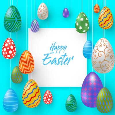 Holiday background with various Easter eggs and space for text. Vector Illustration, EPS 10.