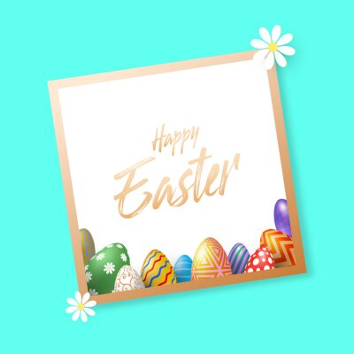 Holiday background with various Easter eggs on a paper under the golden frame. Vector Illustration, EPS 10.