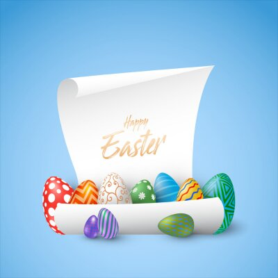 Holiday background with various Easter eggs on a paper. Vector Illustration, EPS 10.