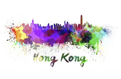 Sticker Hong Kong skyline in watercolor
