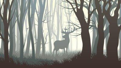 Sticker Horizontal illustration of wild elk in wood.