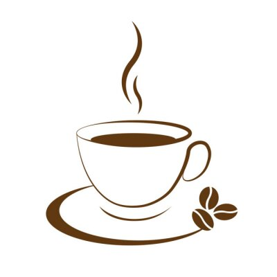 Sticker hot coffee cup icon