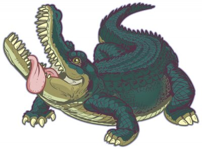 Sticker Hungry Cartoon Alligator with Tongue Hanging Out