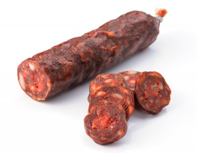 Sticker Iberian sausage cut isolated on white