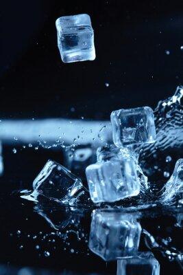 Sticker ice cubes with water splash