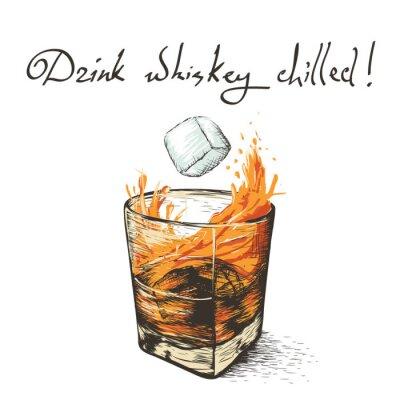 Sticker ice falls in whiskey