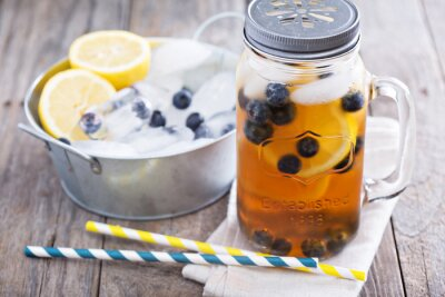 Sticker Ice tea with lemon and blueberries