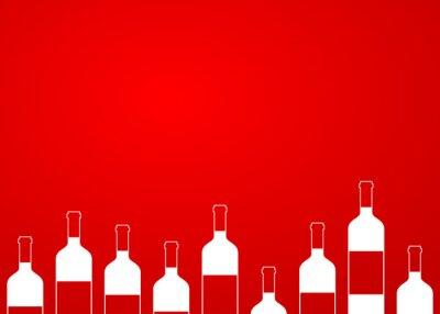Sticker Icono plano botellas de vino sin alinear sobre fondo degradado #1