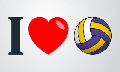 Sticker Icono plano i love voleibol color en fondo degradado