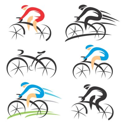 Sticker Icons with stylized cyclist