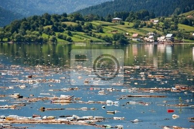 idyllic landscape ruined buy heavy pollution on water