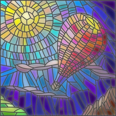 Sticker Illustration in stained glass style hot air balloon on sky background and sun