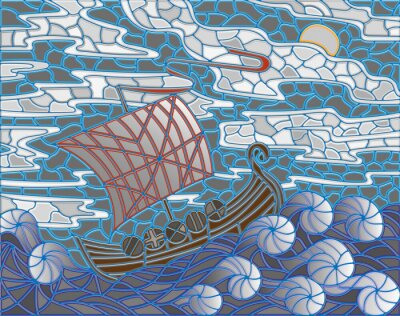 Sticker Illustration in stained glass style with antique ship against the sea, sky and sun