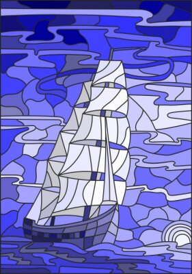 Sticker Illustration in stained glass style with the sailboat against the sky, the sea and the setting sun.Blue version