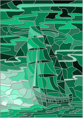 Sticker Illustration in stained glass style with the sailboat against the sky, the sea and the setting sun.Green version